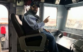 Jason Swango in the CO's chair on the USS San Jacinto